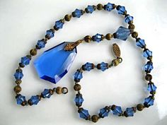 Blue Glass Pendant Necklace, Faceted Blue Glass Drop, Brass Spacers and Cut Glass Beads, Czech Glass Art Deco 1930s by GemParlor on Etsy