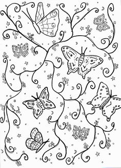 line drawing of butterflies
