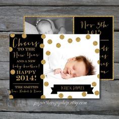 NEW YEAR Birth Announcement Black and Gold Glitter and confetti Cute Little Baby, Little Babies, Newborn Pictures, Baby Pictures, Baby Bundles, Baby Girl Photos, Special Delivery, Birth Announcements, Twin Girls