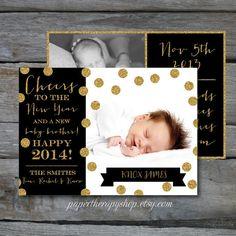 NEW YEAR Birth Announcement Black and Gold Glitter and confetti