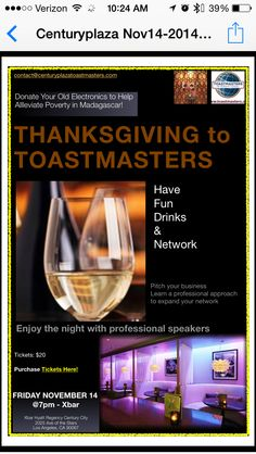 Century Plaza Toastmasters invite you to celebrate thanksgiving by donating electronics at this spectacular event!