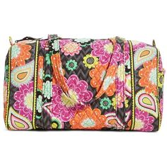 Vera Bradley Small Duffel Travel Bag in Ziggy Zinnia ($34) ❤ liked on Polyvore featuring bags, luggage, sale, travel and ziggy zinnia