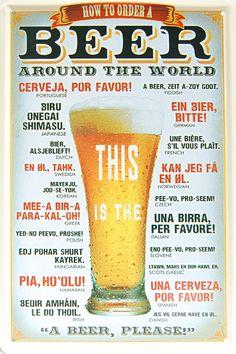 Comment Commander Une Bière Dans le monde entier, Panneau en métal de Style Vintage Décoration murale décorative