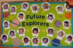 What better way to highlight your class's space study than with this creative board? Make each of your kids an atronaut by gluing their picture inside a printout of a space helmet, and let each child decorate his/her helmet. Go the extra light year by decorating the board with constellations, planets and stars to spruce it up!