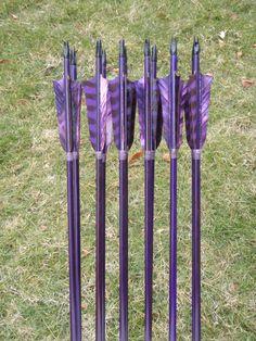 purple hunting arrow | Deep Purple archery arrows, 40-45lb, dozen traditional wood archery ...