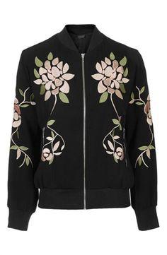 Topshop Floral Embroidered Bomber | Nordstrom