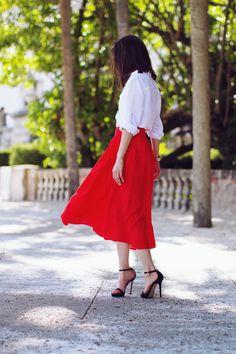 e1230e39b6 20 Ways to Style the Classic White Button-Down. White Button DownClassic  WhiteRed SkirtsWhite SkirtsDress ...
