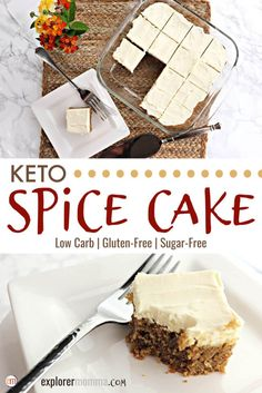 Best Ever Keto Spice Cake Low carb keto spice cake is deliciously moist and packed with spices. Sugar-free cream cheese frosting is the perfect touch on this popular moist gluten-free cake ideal for a keto diet. Keto Cake, Keto Cupcakes, Keto Cheesecake, Keto Cookies, Desserts Rafraîchissants, Low Carb Desserts, Low Carb Recipes, Dessert Recipes, Soup Recipes