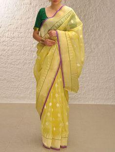 Lime-Gold Handloom Benarasi Kora Saree..with zari n buttis