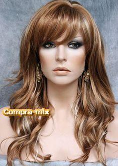 Peluca Larga Color Castaño Dorada y Destellos Color Castaño, Red Wigs, Long Wigs, Short Hair Styles, El Dorado, Dark Brunette, Blond, Hair, Colors