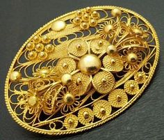 Vintage Cannetille Filigree Brooch Pin 1000 by BrightgemsTreasures, $49.50