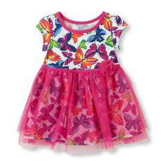 Butterfly Print Short Sleeve Dress with Mesh Skirt