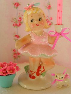 Adorable Girl Vintage Candle Holder Gift Box Set...Handmade and  ooak