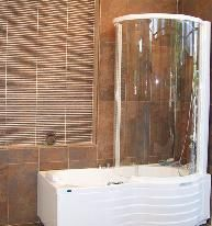 Whirlpool Tub With Round Shower Doors Vanity And Toilet Of Choice With  Tiles To Ceiling