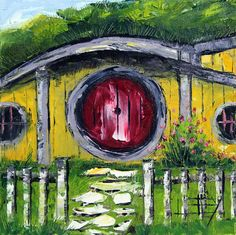 Hobbit House Painting Lord of the rings Hobbit by PaletteKnifeArt