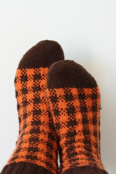 *111 Socken Gr. 39-41 retro kariert orange von PAULI*PAULITA auf DaWanda.com
