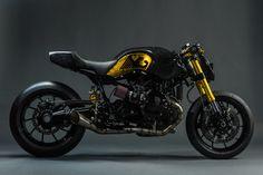 BMW R nine T, is a classy and dark café racer inspired custom by MAD Via. Motos Yamaha, Scrambler Custom, Scrambler Motorcycle, Bmw Motorcycles, Custom Bmw, Custom Cafe Racer, Cafe Racer Bikes, Custom Bikes, Motorbike Design