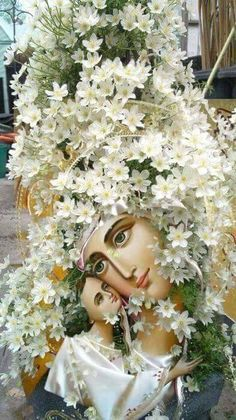 Hail Mary, Orthodox Icons, Virgin Mary, White Flowers, Catholic, Floral Wreath, Wreaths, Pray, Floral Arrangements