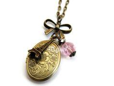 Collares de medallón - Medaillonkette La Vie En Rose - hecho a mano por Flufftail en DaWanda