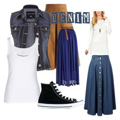 """Almost all things denim"" by greenarcherfc ❤ liked on Polyvore featuring Goo Yoo, Chicwish, maurices and Converse"