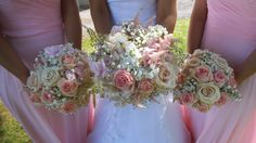 bouquets of hydrangea, vintage pink roses, stocks astilbe and gypsophila