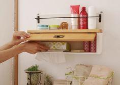 ティッシュ箱が収納できちゃう壁掛けラック【木製棚】