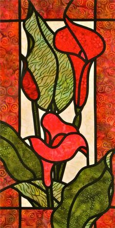 Colourful Callas stained glass quilt
