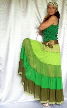 Custom order Skirt Green Long Maxi Tiered Ruffle Chiffon Urban Boho Hippie Gipsy Skirt   Size plus