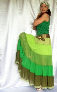 Skirt Green Long Maxi Tiered Ruffle Chiffon Urban Boho Hippie Gipsy Skirt   Size plus on Etsy, $55.00