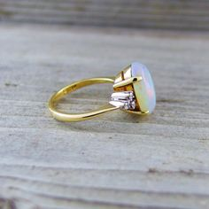Vintage 3.12 Carat Opal and Diamond Engagement by baffy21 on Etsy