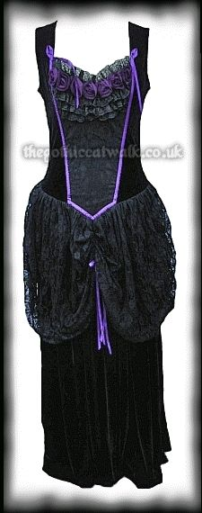Black Velvet & Purple Roses Gothic Fairytale Dress