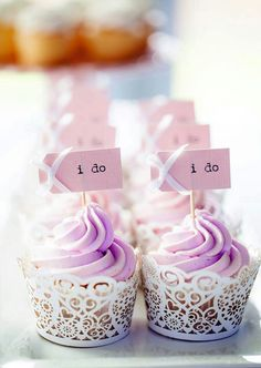 """""""She does"""", """"Mr & Mrs"""" cupcake toppers - print and stick on toothpicks, alternate with tulle dress toppers"""