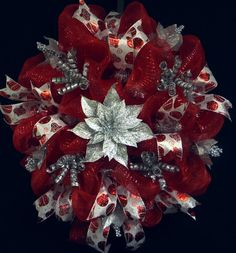 The Christmas Holiday is not far away. Poly Mesh Wreath Christmas Wreaths Red Silver by wreathsbyrobin, $65.00