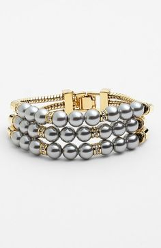 Givenchy - Gray Cooper 3row Faux Pearl Bracelet