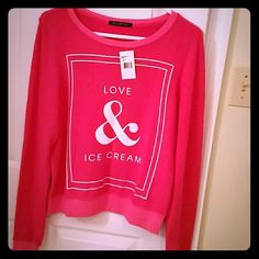 Wildfox Love & Ice Cream BBJ Brand new with tags! Size small, but could easily fit up to a size medium due to the oversized fit.   Wildfox Love & Ice Cream BBJ - very pretty pink color with white writing. These tops are the softest thing you will ever wear and are so cozy!! Material is made out of 47% rayon 47% polyester and 6% spandex. If you have never owned a Wildfox piece before, you will be addicted after purchasing your first one - they are so comfortable! Wildfox Tops Sweatshirts…