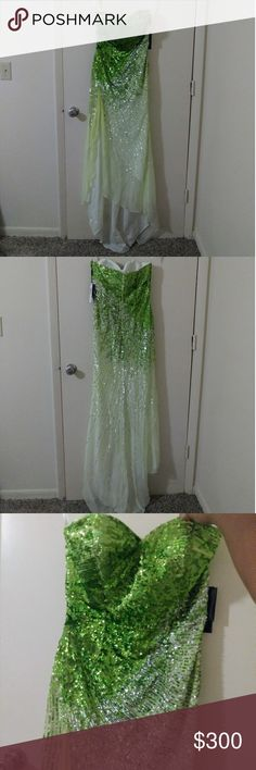 Terani 1318p Sequin Gown Gorgeous green sequined gown. Wonderful dress for prom, school dance, or pageant! Originally $517 so great deal! Never worn! Terani Couture Dresses Prom