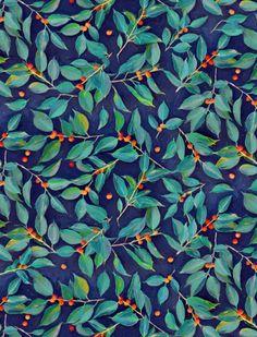 Leaves + Berries in Navy Blue, Teal & Tangerine Art Print