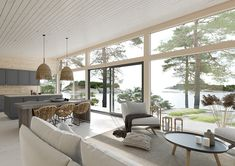 Modern Log Cabins, Living Area, Living Room, Cabin Kits, House Roof, Boat House, Cottage Living, Cabins In The Woods, Log Homes