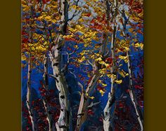 Autumn Landscape Painting Oil on Canvas Birch Tree Forest Textured Palette Knife Modern Original Art Seasons 12X16 by Willson Lau