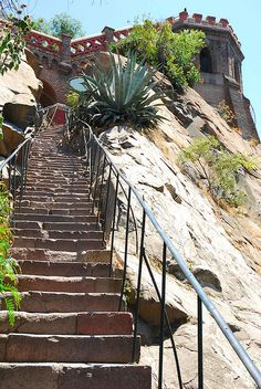 One of four stairways to the top of Cerro Santa Lucia, Bella Vista, Santiago, Chile. The Beautiful Country, Beautiful Places, Bolivia, Cerro Santa Lucia, Equador, Chili, Easter Island, South America Travel, Stairways