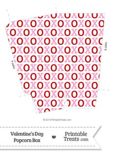 Red and Pink Hugs and Kisses Popcorn Box from PrintableTreats.com
