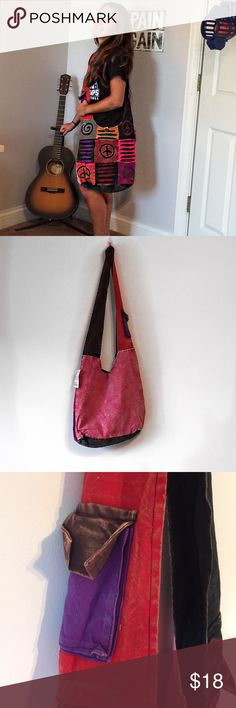 Hipster Cotton Crossbody Bag- Very Cool! Handcrafted-NWT-Very Hip Bag!  Decorative front and plain color on the back of the bag.  Thank You!  Deb 👉See pic 3 for details✌️ Nepal Handcrafted Wearables Bags Crossbody Bags