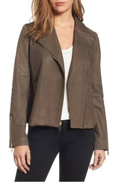 Tahari Skylar Leather Moto Jacket Gleaming zips put the polish on a sleek moto jacket crafted in soft, supple sheepskin. Suede Jacket, Moto Jacket, Motorcycle Jacket, Nordstrom Sale, Cute Pants, Brown Jacket, Clothes For Women, Mud, Polish