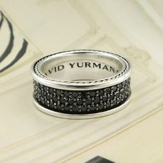 5efc3bb3284b David Yurman Sterling Silver Black Diamond Band - 803-01246