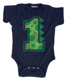 Navy Dinosaur Birthday 1 Bodysuit - Infant | zulily