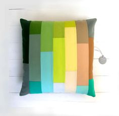 striped, patchwork pillow cover