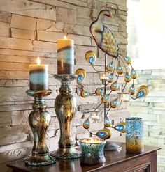 Pier 1 Jewel Peacock Centerpiece Candleholder with Mosaic Candles