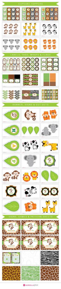 Jungle Party Printable's Safari Monkey Animals Zoo Wild Invitation Thank you Card Birthday Banner Games Labels Water Bottle Wraps Candy Wraps Centerpieces Favor Tags Safari Party, Safari Jungle, Jungle Party, Safari Theme, Jungle Theme, Monkey Invitations, Safari Invitations, Photo Invitations, Invitation Ideas