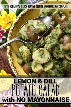 Lemon & Dill Potato Salad with No Mayonnaise - The zest and juice of a lemon, give this potato salad, made with no mayonnaise, a light, refreshing, and vibrant flavor. Add in a generous amount of fresh dill and crunchy diced celery, and you'll see just why this potato salad is such a fantastic side dish. it pairs well with almost any main course, is easy to make, and you won't have to worry about it sitting out for a bit, due to the lack of mayo. Dill Potatoes, Potato Salad Dill, Little Potatoes, Healthy Salad Recipes, Vegan Recipes, Original Recipe, Great Recipes, Fresh Dill, Vegane Rezepte