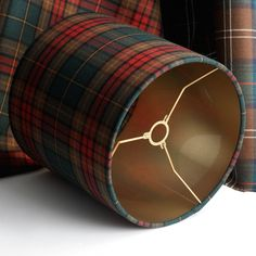 Inexpensive shades covered in tartan for Christmas